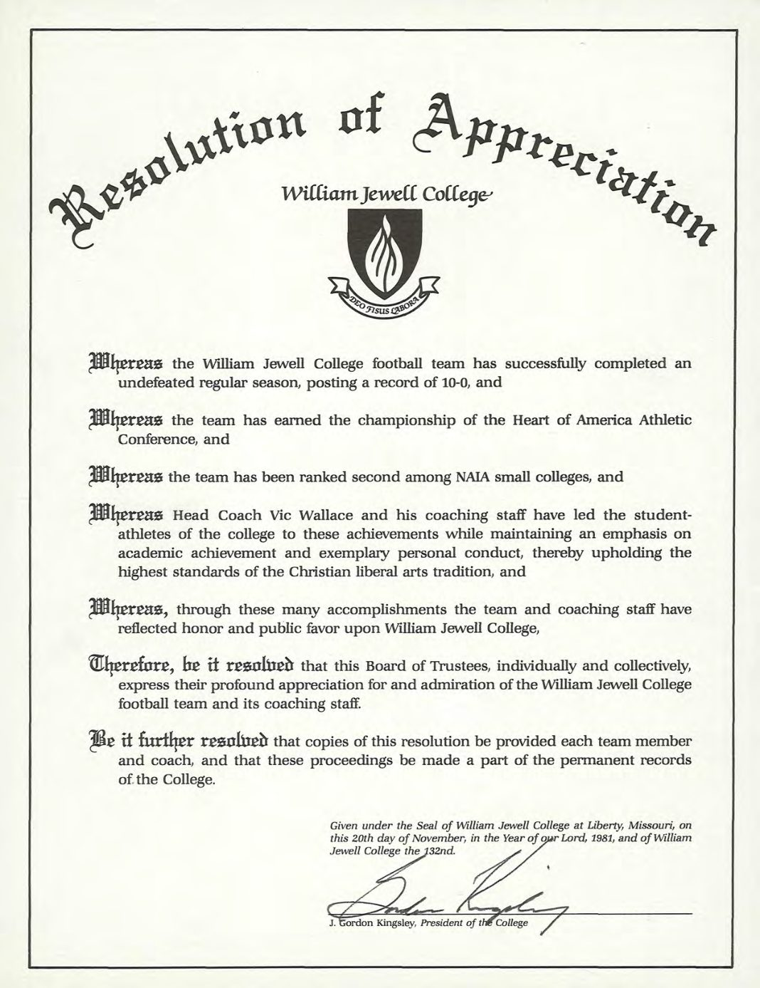 1981 Resolution of Appreciation