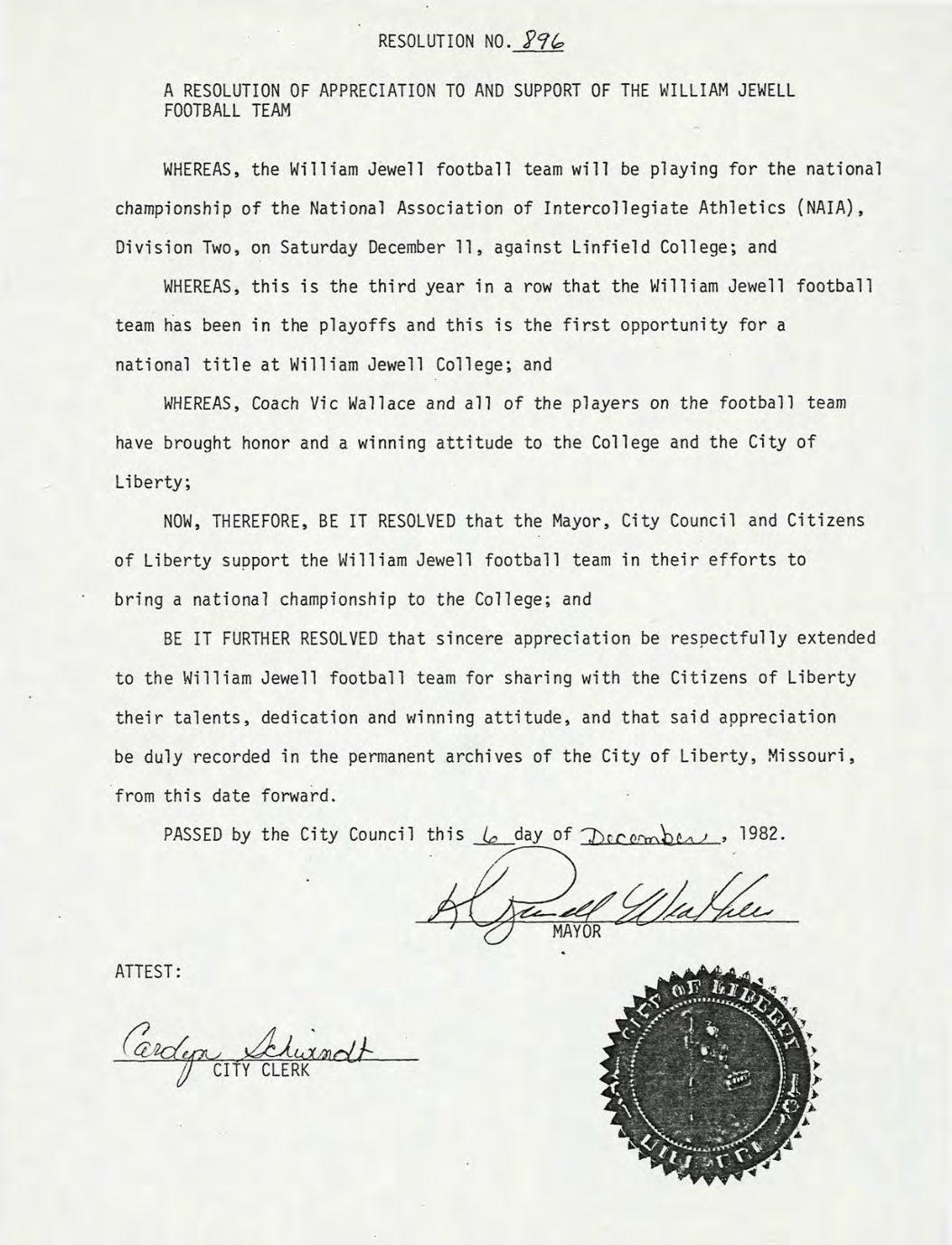 1982 Resolution of Appreciation
