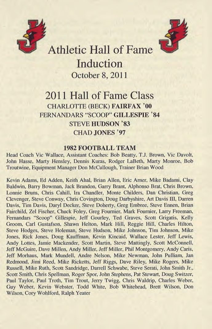 1982 Team - 2011 Athletic Hall of Fame