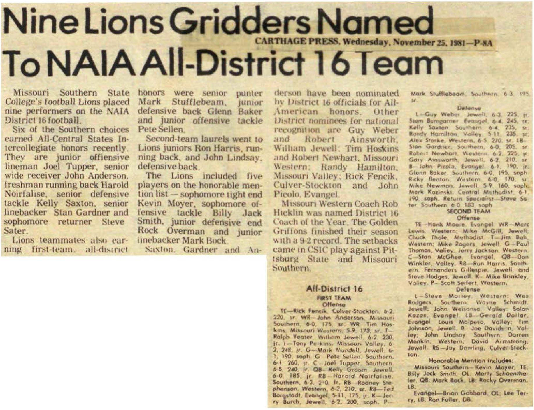 news-article-1981-Nine-Lions-Gridders-Named