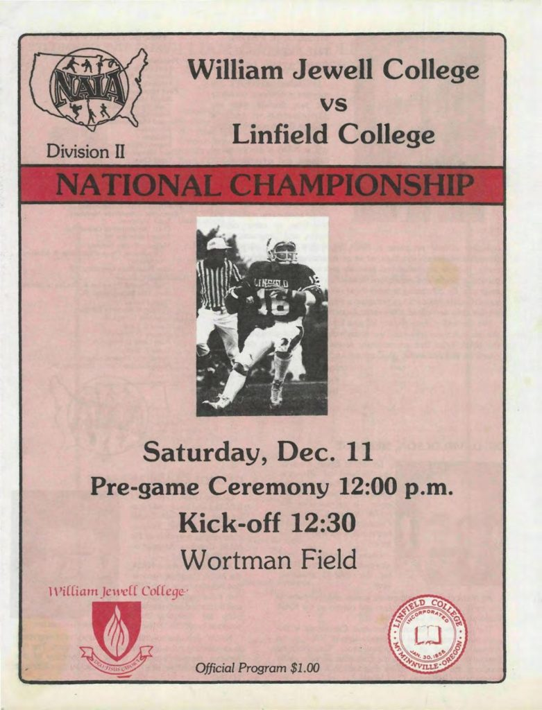 1982 Linfield National Championship Program