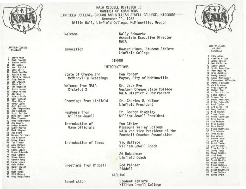 1982 NAIA Division II Banquet Linfield