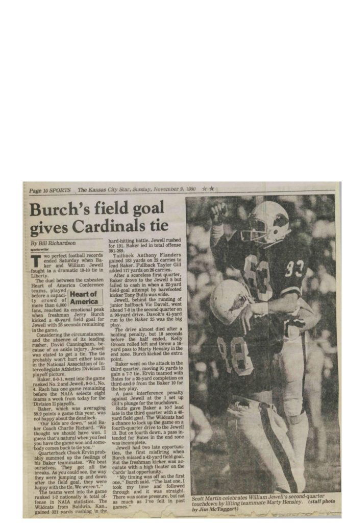 Burch's field goal gives Cardinals tie - 11091980