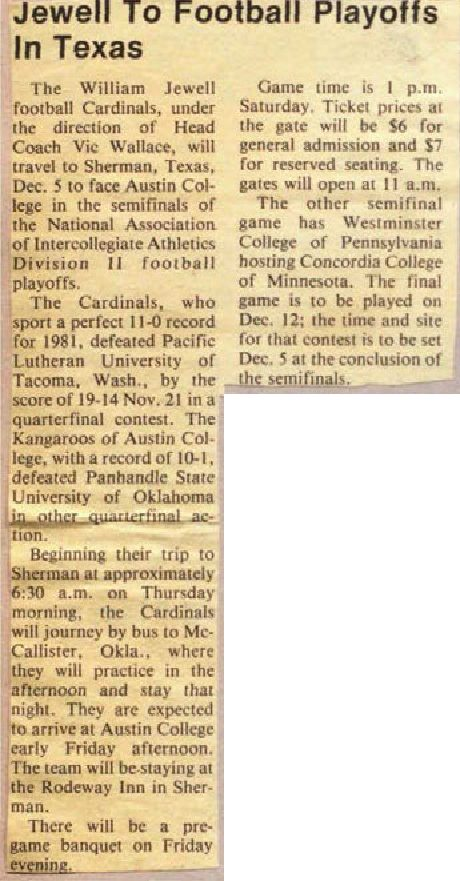 Jewell to football playoffs in Texas-1981-12