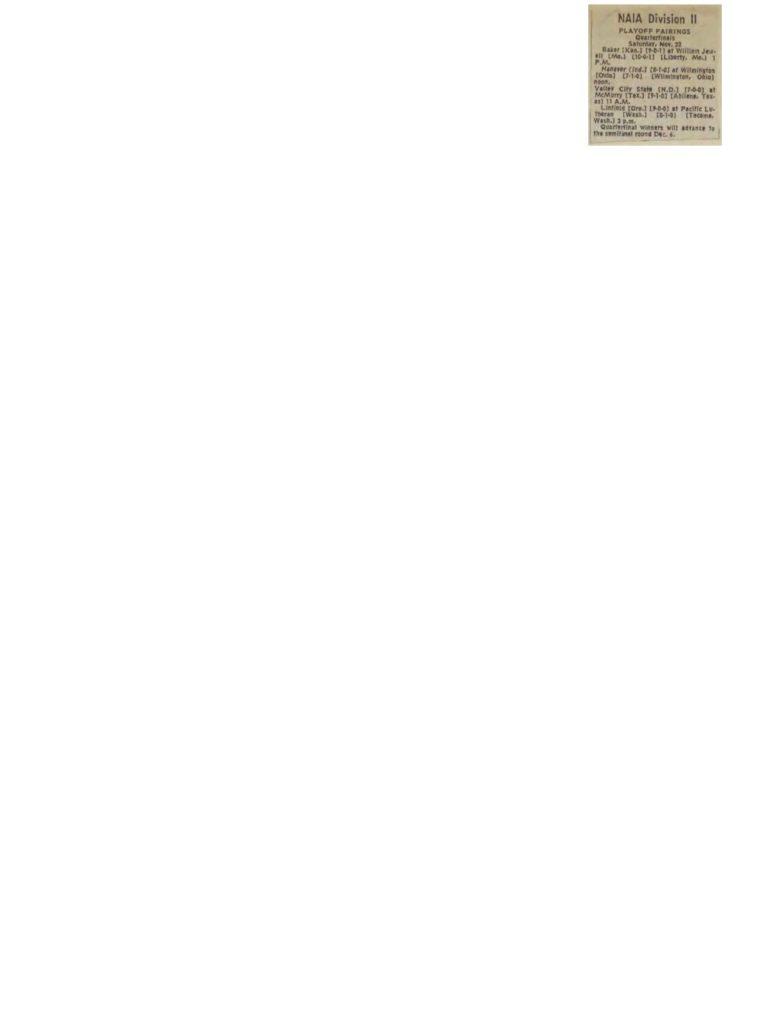 NAIA Division II Playoff Pairings - 11221980